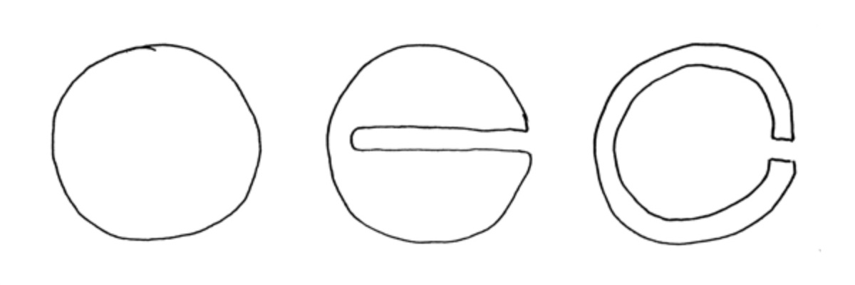 A sequence of three shapes. The first is a circle. The second is a circle with a small section of the right side extruded inside the circle, almost to the other edge. The third looks like the letter C.