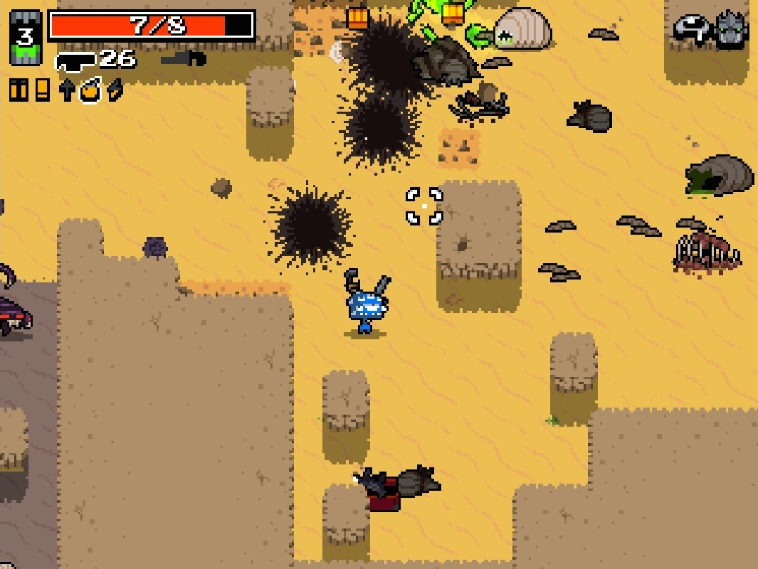 A top down view of a blue alien with many eyes holding a grenade launcher in the middle of a desert surrounded by explosions, monsters, and loot.