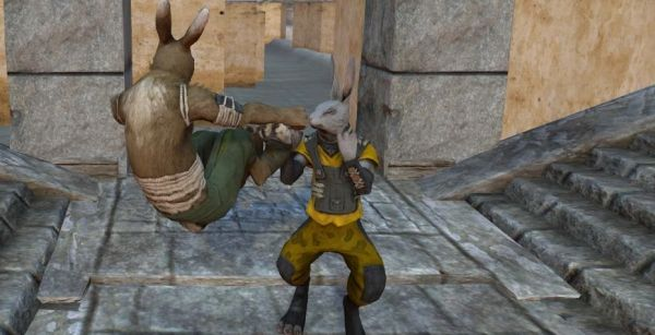 Two anthropomorphic rabbits in a stone constructed environment, one in a jump kick about to hit the other.